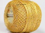 cotone color oro con filo lame' argento
