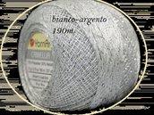 cotone color bianco con lurex color argento