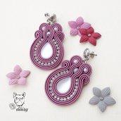 Orecchini eleganti rosa con strass e cabochon duna suede - orecchini soutache - orecchini cerimonia - gioielli souatche