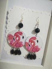Orecchini carta Fenicotteri Rosa Nero Gioielli decoupage idea regalo Personalizzabili
