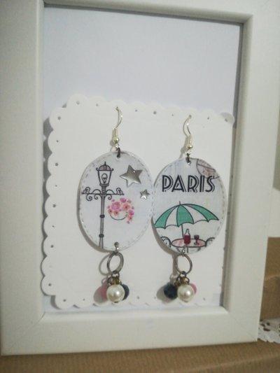 Orecchini carta Gioielli decoupage Paris Parigi  Idea regalo Personalizzabili