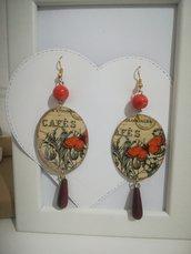 Orecchini carta Gioielli decoupage Farfalla stile Vintage Arancioni Idea regalo Personalizzabili