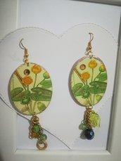 Orecchini carta Gioielli decoupage Fiori gialli Swarovski Idea regalo Personalizzabili