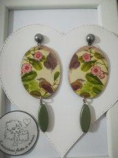 Orecchini carta Gioielli decoupage Uccelli fiori rosa  Idea regalo Personalizzabili