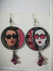 Orecchini carta Madonna musica Gioielli Decoupage Idea regalo Personalizzabili