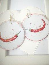 Orecchini carta Gioielli decoupage Peperoncino rosso Idea regalo Personalizzabili