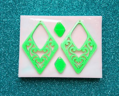 Stampo in gomma siliconica Orecchini Rombi Mandala