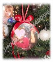 Pallina con foto personalizzata per l'albero di Natale diametro cm 8