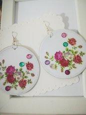 Orecchini carta Gioielli decoupage Fiori Rose rosse  Idea regalo Personalizzabili