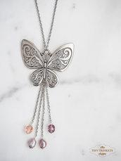 Collana ciondolo farfalla e perle di fiume, catena nickel free