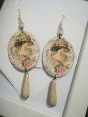Orecchini carta Gioielli decoupage vintage liberty eleganti Idea regalo Personalizzabili