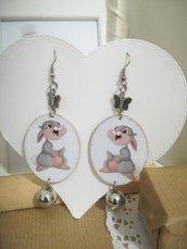 Orecchini carta Gioielli decoupage Cartoni coniglio idea regalo Personalizzabili