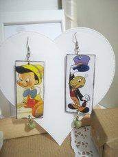 Orecchini carta Gioielli decoupage Grillo parlante Pinocchio idea regalo Personalizzabili