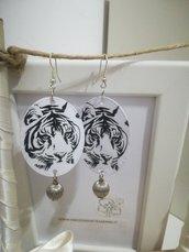 Orecchini carta Gioielli decoupage Tigre bianco e nero idea regalo Personalizzabili