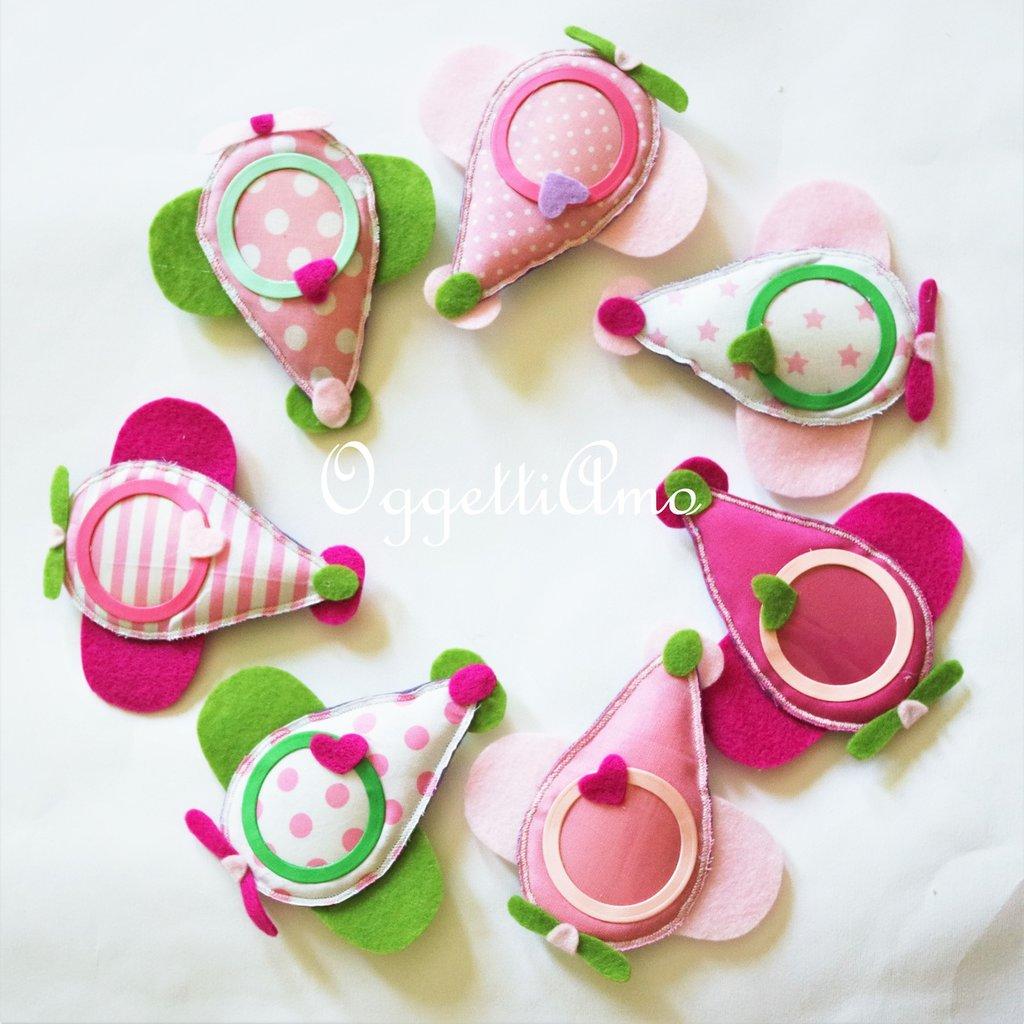 7 Cornici, calamite, bomboniere, gadget, idee regalo? Tutto questo in un aeroplanino verde, lilla e rosa originale e versatile!