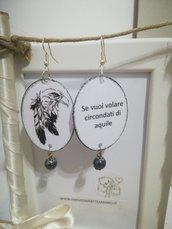 Orecchini carta Gioielli decoupage Aquila Idea regalo Personalizzabili