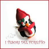 """Anello Natale """" Pinguino natalizio """" cappello babbo Natale fimo cernit kawaii idea regalo economica"""