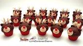 Ciondolo cupcake renna natale fimo materiale creativo per bigiotteria accessori bomboniere decorazioni
