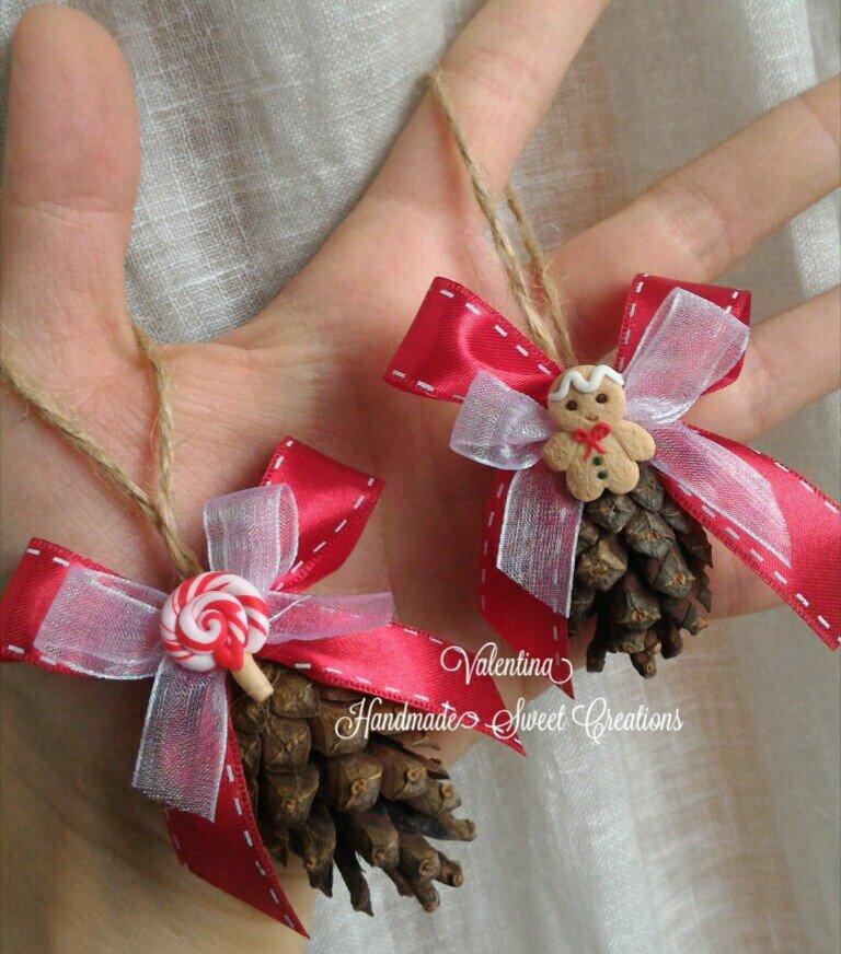 Pigne decorate addobbi  Natale fimo