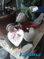 Decorazione invernale Topo BIBO, in feltro e pannolenci fatto a mano.