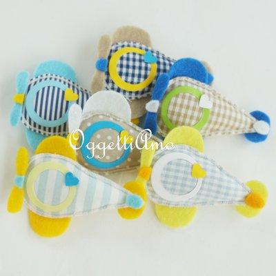20 aeroplanini di feltro e cotone: calamite di stoffa fatte a mano per originali gadget di fine compleanno o bomboniere per il vostro bambino!