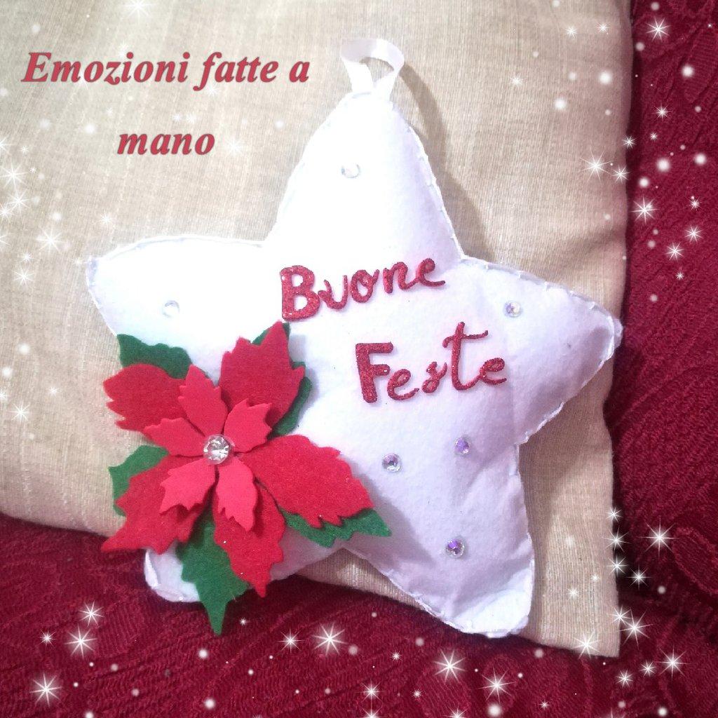 Stella Di Natale Addobbi Natalizi Bianca Con Fiore Idea Regalo Casa