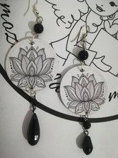 Orecchini carta Gioielli decoupage Fior di loto bianco nero Idea regalo Personalizzabili