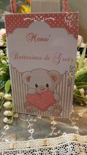 Menù Battesimo Personalizzato orsetto rosa