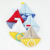 Set di 20 diverse barchette in cotone e feltro: cornici originali per il battesimo del vostro bambino!