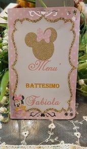 Menu personalizzato per Battesimo Minnie con stampa gratis