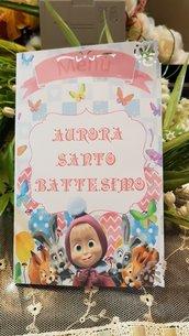 Menu personalizzato per Battesimo Masha e Orso con stampa gratis
