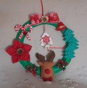 Ghirlanda natalizia grande, con renna e stella di Natale