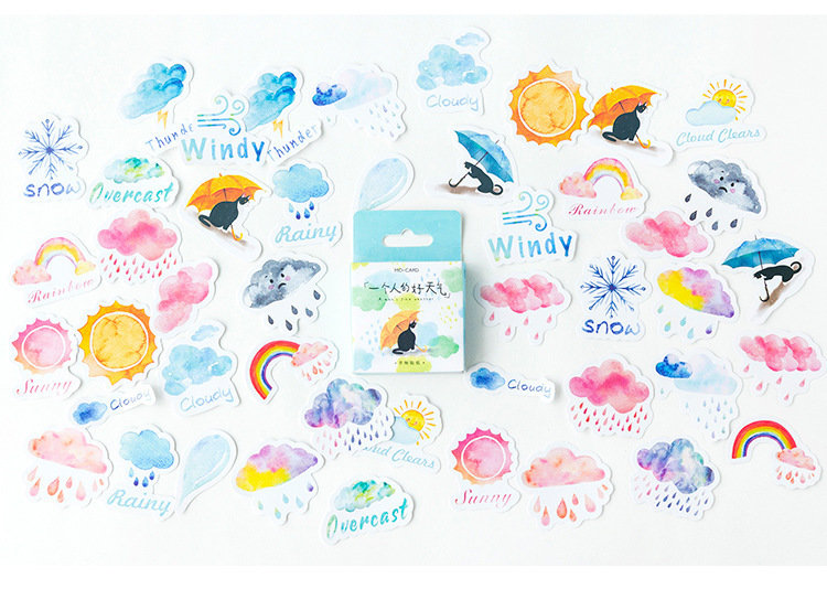 "LOTTO 45 stickers adesivi in carta ""weather"" (da 1 a 3 cm)"