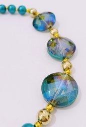 Collana delle feste2 con perle e cristalli iridescenti - Turchese di dicembre