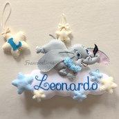 Fiocco nascita con Dumbo - Baby Dumbo - Cuscino decorativo - Cuscino Dumbo - Punto croce maschietto