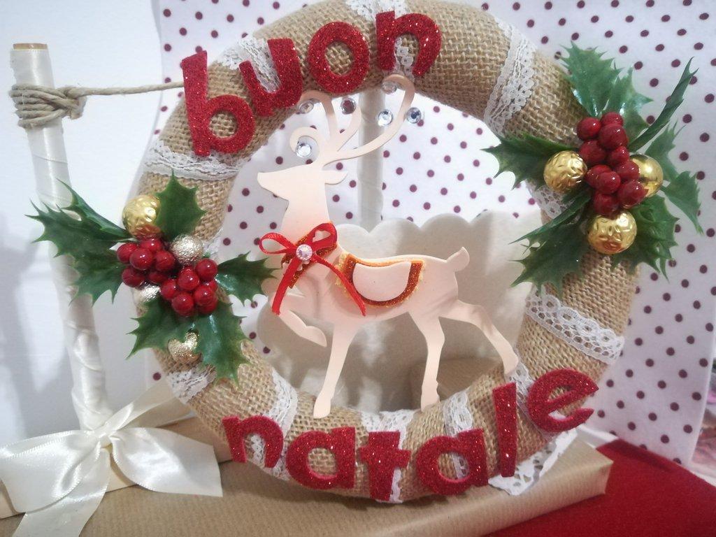 Idee Regalo Natale Fatte A Mano.Ghirlanda Natalizia Renna Glitter Pungitopo Idea Regalo Natale Fuori Porta