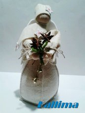 ANGELO DELLE NEVI in feltro lana e decorazioni in legno fatto a mano