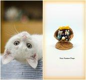 Presepe con gatti in fimo nella noce, idea regalo natale per amanti dei gatti