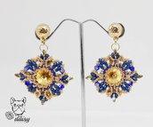 Orecchini in tessitura di perline - orecchini blu e oro - orecchini perline - orecchini pendenti - orecchini stella