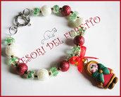 "Bracciale Natale  ""Fufuclassic Classic ESCHIMESE perle rosse bianche verde "" Fimo cernit Natale idea regalo"