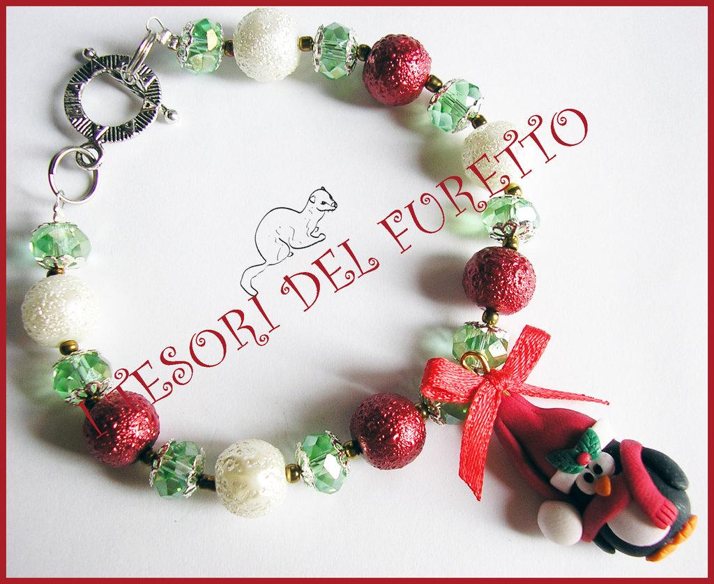 """Bracciale Natale  """"Fufuclassic Classic Pinguino cappello  babbo  Natale   perle rosse bianche verde """" Fimo cernit Natale idea regalo"""