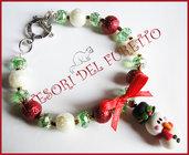 """Bracciale Natale  """"Fufuclassic omino pupazzo di neve cappello  babbo  Natale   perle rosse bianche verde """" Fimo cernit Natale idea regalo"""