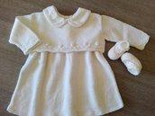 Completo bimba, colore bianco 100% lana merino