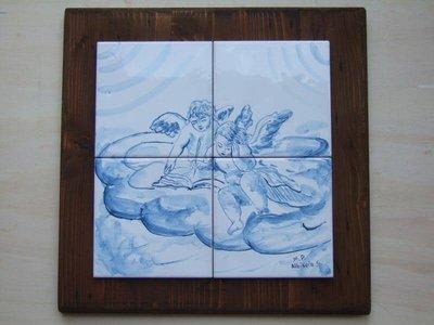 pannello piastrelle angeli ceramica