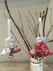 Coppia Decorazioni natalizie argento/rosso