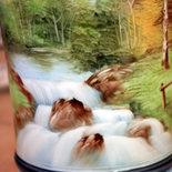 Vaso - Paesaggio di montagna - vaso di porcellana dipinto a mano