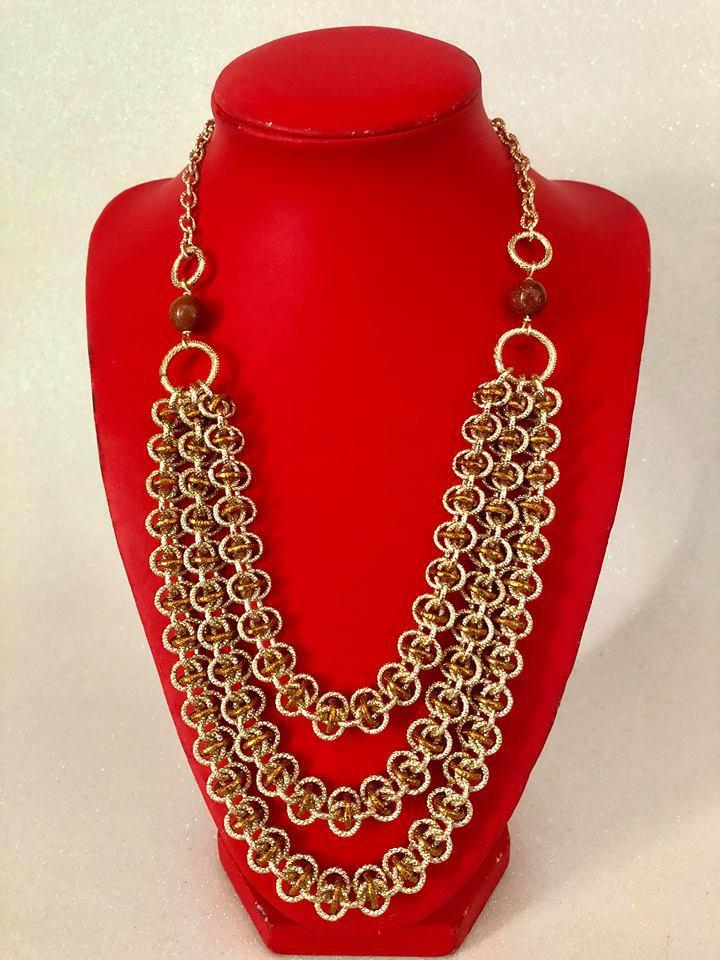Collana Color Oro e Rame in Alluminio con Pietre del Sole