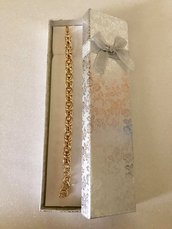 Bracciale Color Oro Lucido in Alluminio con Maglie Bizantine Lavorato con la Tecnica Chainmaille