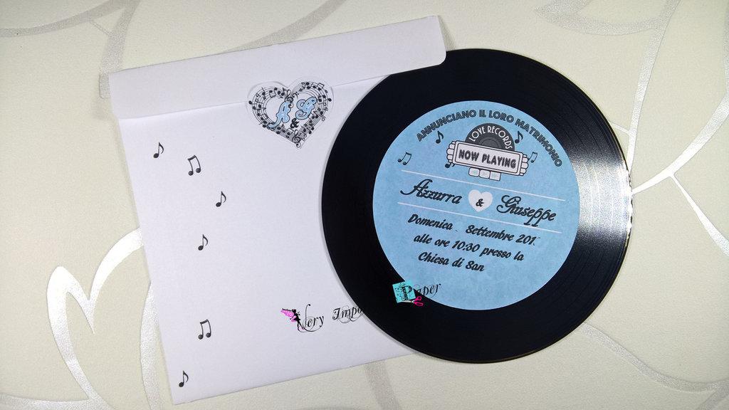 Foto Partecipazioni Matrimonio.Partecipazioni Matrimonio Tema Musica Cd Disco In Vinile Feste