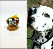 Presepe con cane dalmata in fimo nella noce, idea regalo natale per amanti dei cani